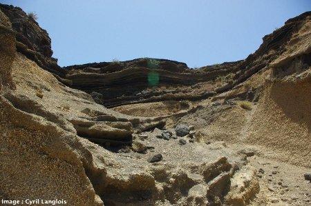 Affleurement de la nappe de ponces blanches de Santo Antão, au sommet du plateau de Chã de Morte, au centre-Ouest