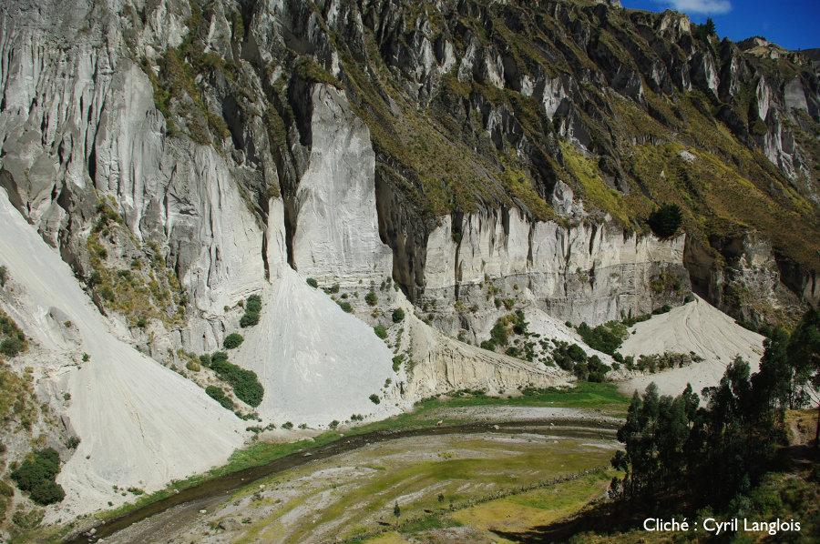 Incisions du plateau de cendres du Quilotoa et cônes d'épandage, vallée du rio Toachi, Équateur