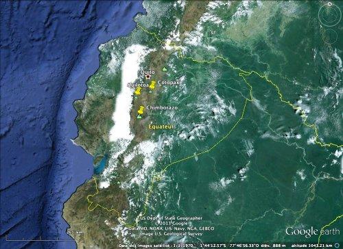 Localisation du Quilotoa et des pays limitrophes