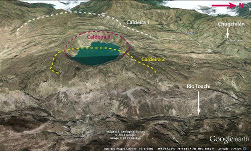 Vue aérienne interprétée du volcan Quilotoa, montrant les limites des caldeiras et la localisation du village de Chugchilán