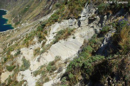 Une discordance dans les dépôts de cendres, sur la crête du Quilotoa