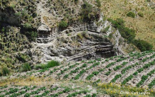Détail de la structure sédimentaire de progradation, vallée du Rio Toachi