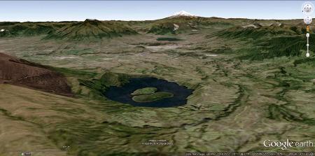 Vue Google earth de la caldeira de Cuicocha, Équateur