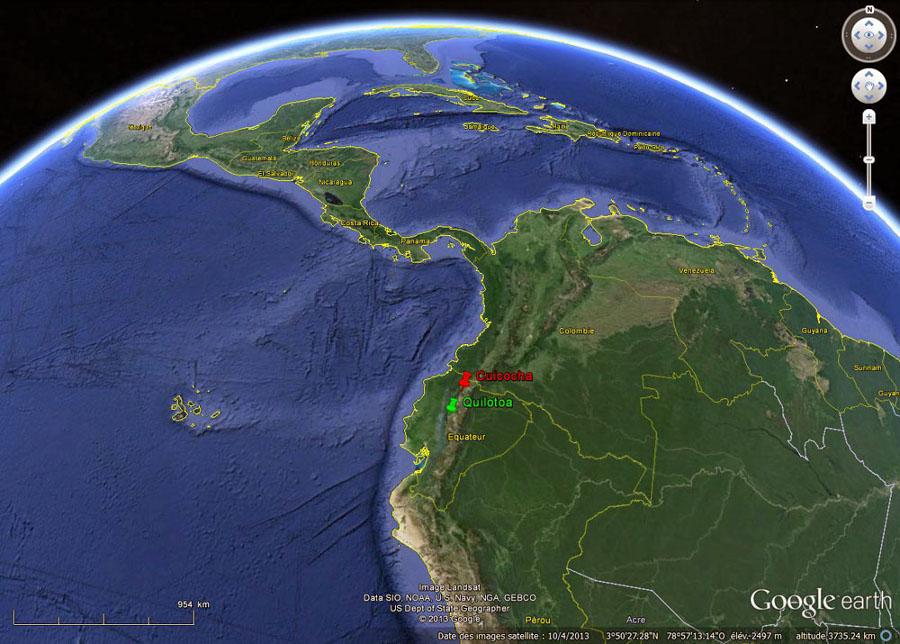 Localisation des caldeiras de Cuicocha et du Quilotoa (Équateur) dans la Cordillère des Andes équatoriales