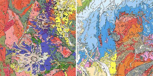 Trois caldeiras mio-plio-quaternaires dans le Massif Central (à gauche) et une caldeira du Carbonifère supérieur - Permien basal dans le Morvan (à droite)