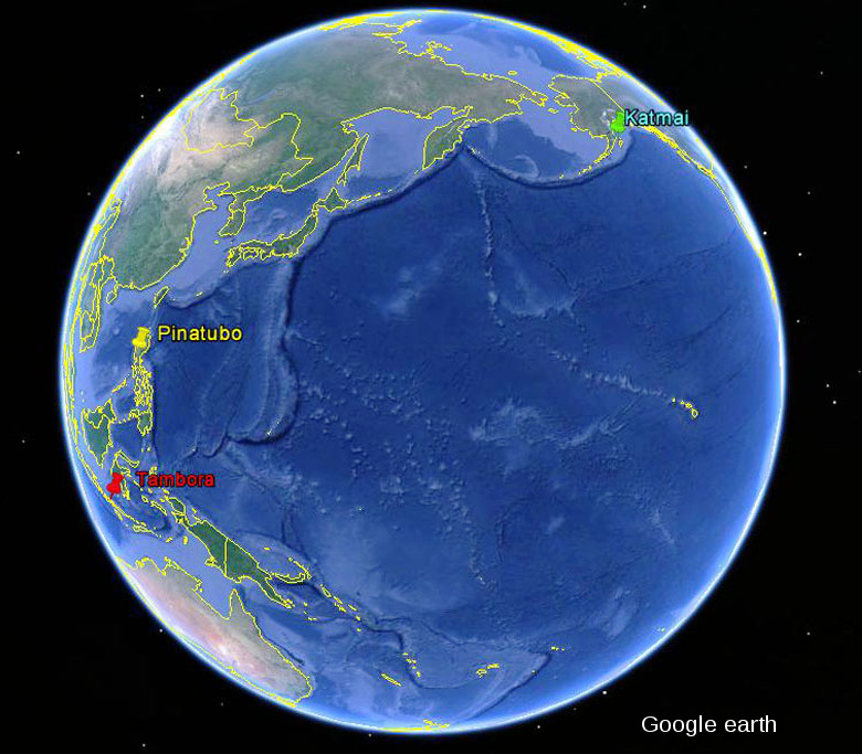 Localisant des caldeiras du Katmai (Alaska), du Pinatubo (Philippines) et du Tambora (Indonésie)