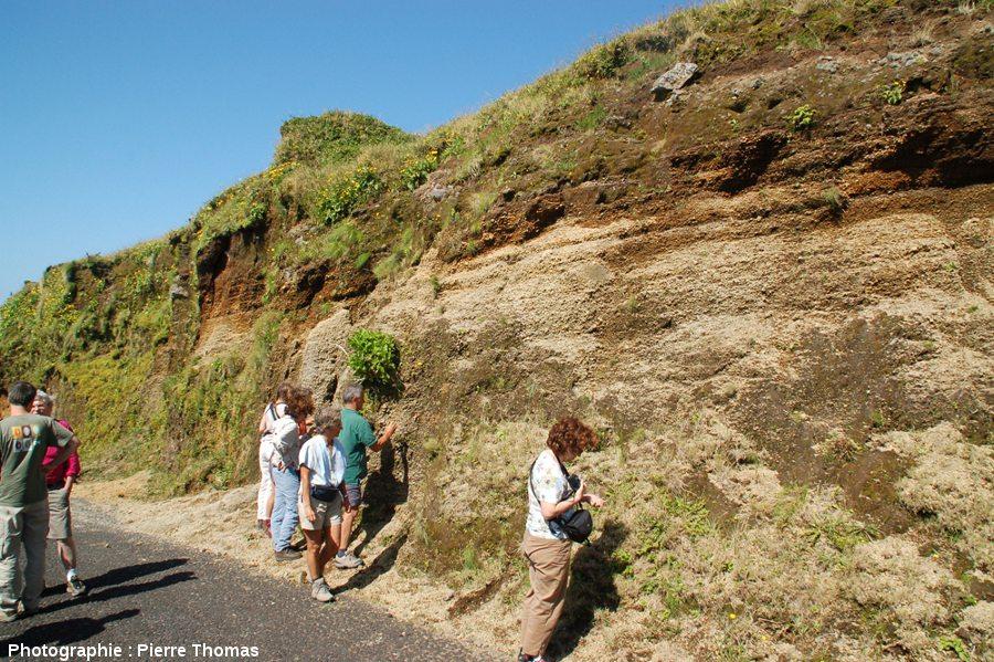 Coupe dans la nappe d'ignimbrites (non soudées) supérieure qui recouvre les flancs Ouest et Nord du volcan de l'île de Faial