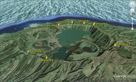 Vue aérienne annotée de la caldeira des Sept Cités, Açores (Portugal)