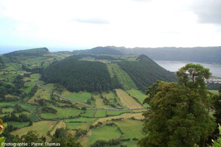 """La Caldeira do Alferes (""""Volcan 4""""), nom local de ce quatrième cône phréato-trachytique dont le maar sommital n'est pas occupé par un lac"""