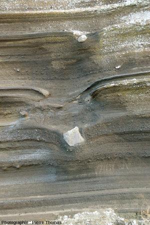 Détail d'une figure d'impact dans les dépôts surtseyens et/ou phréato-magmatiques