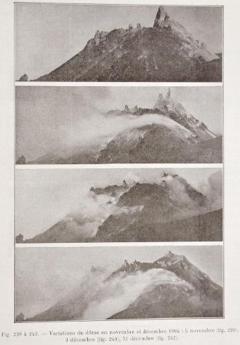 Variation du dôme de la Montagne Pelée en novembre et décembre 1904