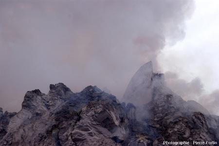 Aiguille de lave photographiée le 15 décembre 2012 au sommet du Paluweh (Indonésie)