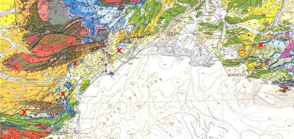 Localisation des principaux affleurements de Rognacien dans le Sud de la France
