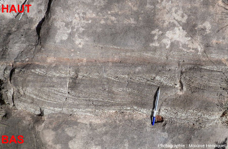 Deux belles couches (à l'endroit) montrant des figures de progradation et limitées à leur partie supérieure par de belles surfaces d'érosion
