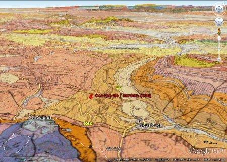 Localisation de la couche d'Ilerdien (jaune orangé, e3d = Yprésien inférieur) sur la commune de Coustouge (Aude) où on peut trouver de belles strates fossilifères en se promenant dans la garrigue