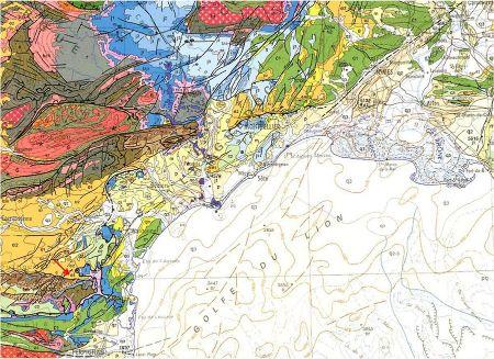 Localisation (flèche rouge) de l'Éocène basal fossilifère des Corbières (e1)