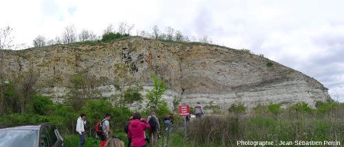 Vue d'ensemble du front de taille de l'ancienne carrière de calcaire de Cournon (Puy de Dôme)