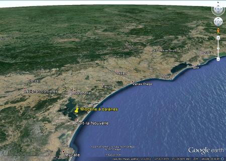 Localisation sur de l'ancienne île Sainte Lucie, Aude, toujours appelée localement «île Sainte Lucie», et de son Miocène à balanes