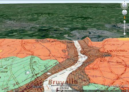 Vue aérienne de la région de Tournai (Belgique) avec géologie partielle