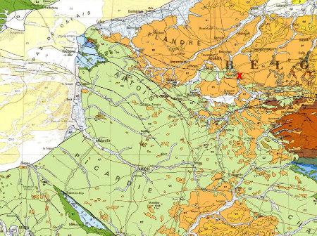 Localisation de Tournai (Belgique) sur la carte géologique de France au millionième