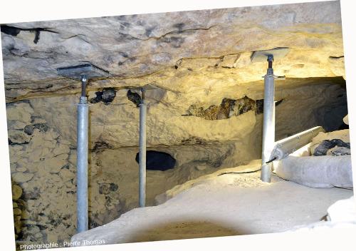 Vue d'une autre galerie de la même minière de silex, d'environ 100cm de hauteur à gauche, 50cm à droite
