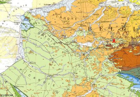 Localisation des minières de Spiennes sur la carte géologique de France au 1 /1000000 (croix rouge)