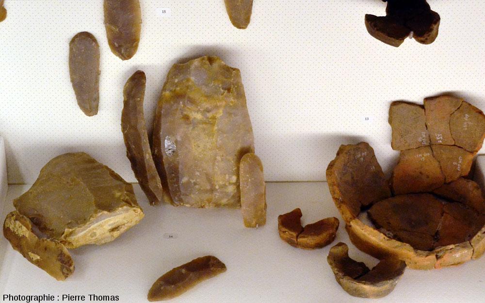 Vitrine exposant 2 «livres de beurres», des lames de silex et des fragments de poteries