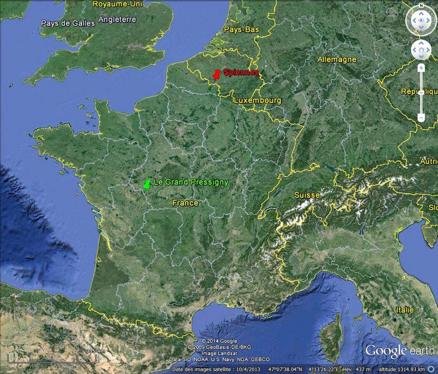 Localisation du Grand Pressigny, Indre et Loire (punaise verte) sur fond de l'Europe de l'Ouest