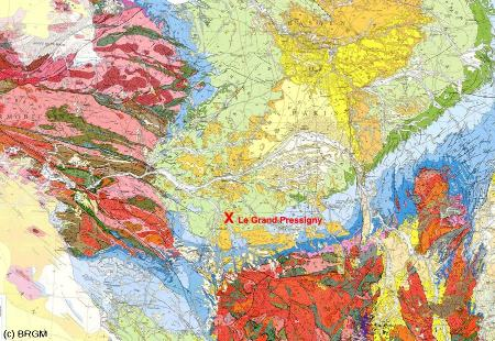 Localisation du Grand Pressigny, Indre et Loire (croix rouge) sur la carte géologique de France au 1/1.000.000