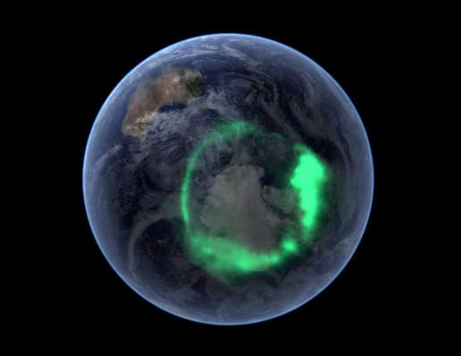 Montage d'une image réelle d'aurore polaire (ici australe) obtenue le 11 septembre 2005 par le satellite IMAGE superposée à une mosaïque d'images satellitales classiques centrée sur le pôle Sud