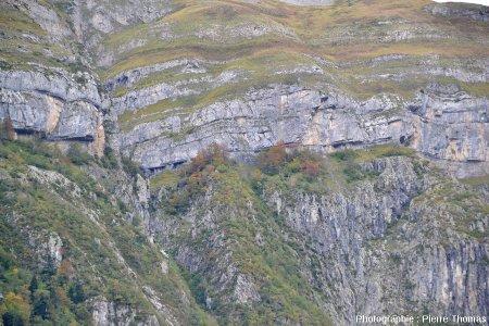 Détail sur la discordance Crétacé supérieur / granite hercynien de la région du Pic de Ger, vue depuis la vallée du gave d'Ossau, Pyrénées Atlantiques