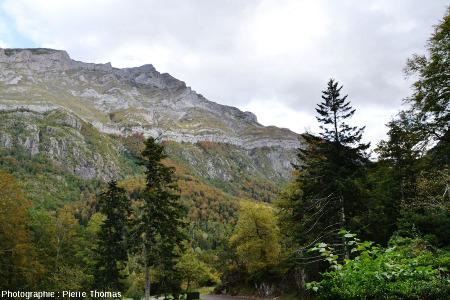 Partie orientale du versant Sud-Ouest du massif du Pic de Ger (Pyrénées Atlantiques) montrant la discordance Crétacé supérieur / granite hercynien