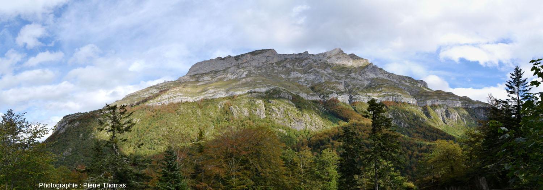 Le versant Sud-Ouest du massif du Pic de Ger (Pyrénées Atlantiques) montrant la discordance Crétacé supérieur / granite hercynien