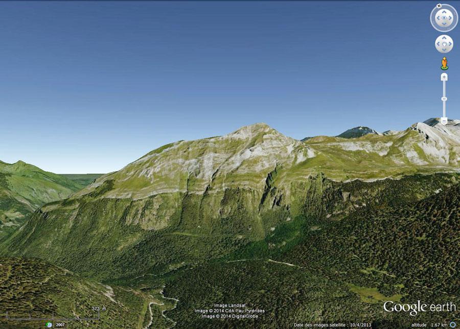 Vue du versant Sud-Ouest du massif du Pic de Ger