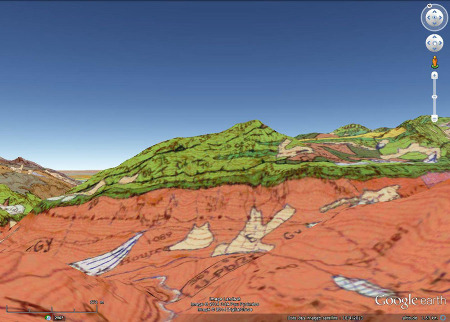 """Vue """"géologique"""" du versant Sud-Ouest du massif du Pic de Ger"""
