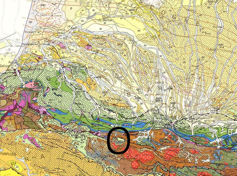 Localisation de la vallée du gave d'Ossau et du Pic de Ger (cercle noir) sur la carte géologique de France au 1/1.000.000