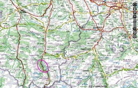 Localisation sur carte routière de la vallée du gave d'Ossau (cercle violet)