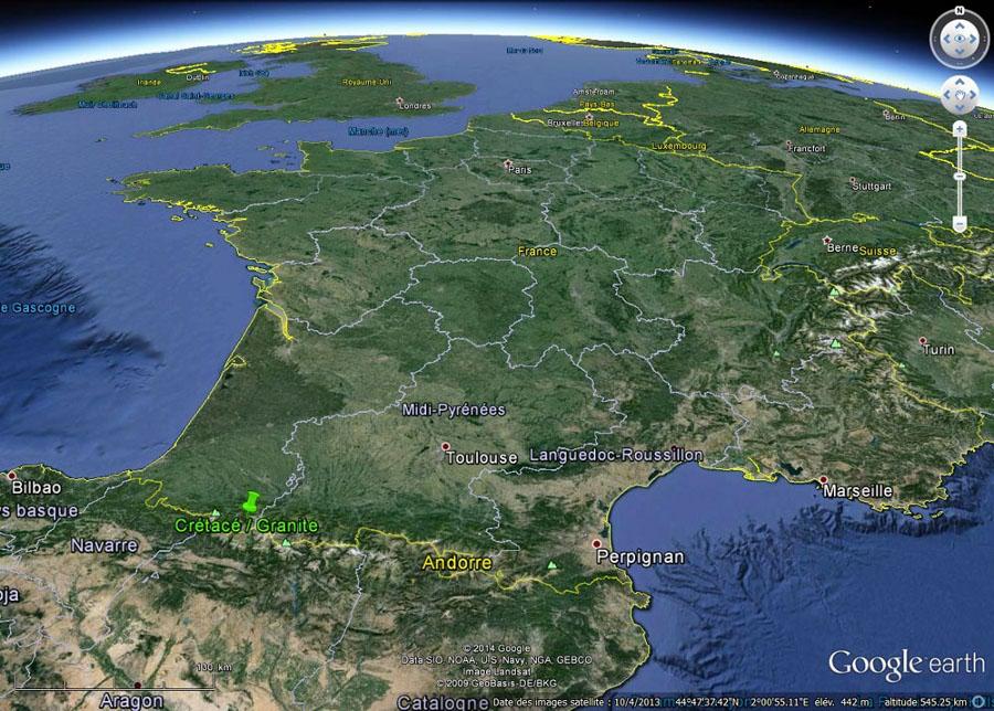 Localisation de la discordance Crétacé/granite hercynien observable dans les Pyrénées Atlantiques