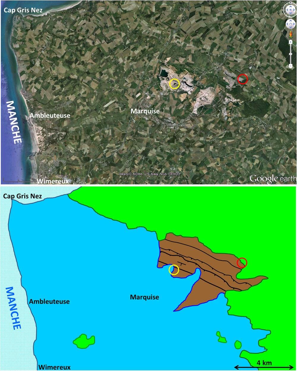 Vue et carte géologique simplifiée du Nord du Boulonnais (Pas de Calais)