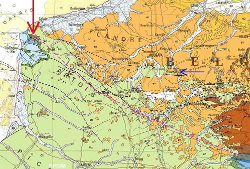 Localisation du massif paléozoïque du Boulonnais (flèche rouge) sur la carte géologique de France au 1/1000000