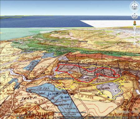 Géologie, en vue oblique, des Carrières du Boulonnais (Pas de Calais)
