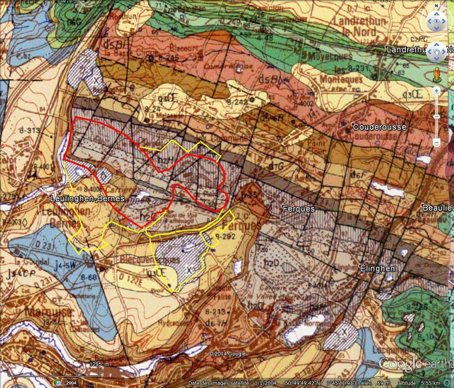 Carte géologique des Carrières du Boulonnais