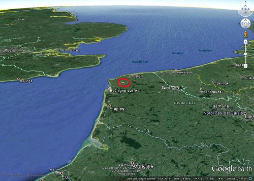 Localisation du Boulonnais et de ses carrières (Pas de Calais)
