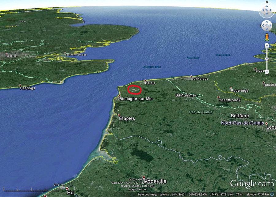 Localisation du Boulonnais et de ses carrières (dans l'ellipse rouge) dans le Pas de Calais