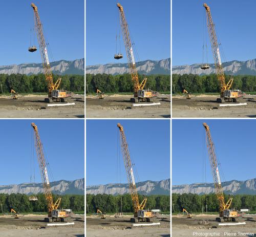 Série de 6 images prises tous les 1/3 de seconde montrant la chute d'une masse d'acier de 12 tonnes, d'un diamètre de 2m et tombant d'une hauteur d'environ 15m (un immeuble de 5 étages)