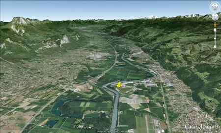 Contexte géologico-morphologique du futur entrepôt (punaise jaune) de Villard-Bonnot au NE de l'agglomération grenobloise (Isère)