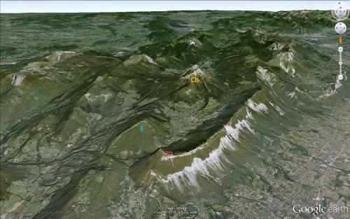 Vue aérienne du massif de la Chartreuse