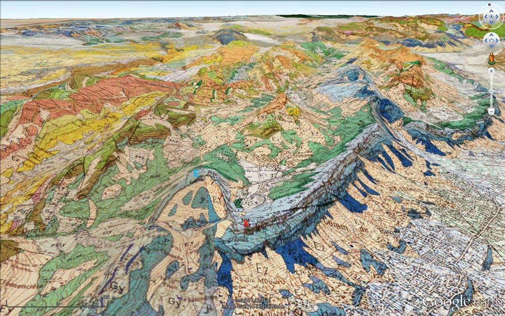 Carte géologique BRGM du massif de la Chartreuse correspondnat à la vue précédente