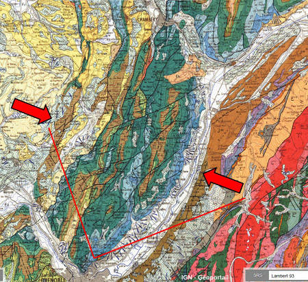 Extrait de la carte géologique BRGM au 1/250000 de Lyon couvrant le massif de la Chartreuse, l'un des massifs subalpins des Alpes externes