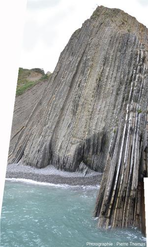 Falaise de bord de plage à Zumaia, et couches quasi verticales